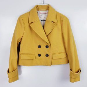 Anthropologie Cartonnier Yellow Cropped Pea Coat